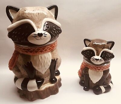 Harvest Raccoon Cookie Jar & Candy Jar Set: 100% Earthenware Ceramic, NEW - FALL