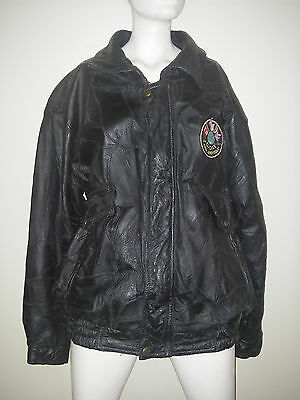 Bomber Flight JACKET w D-Day Invasion 60th Anniversary Patch Black Leather Sz L