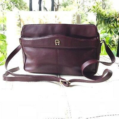 Etienne Aigner ~Vintage~ Dark Burgundy Leather Shoulder Bag   Crossbody  Purse 22a953b0f14ef