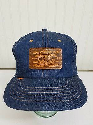 Levis XX Denim Jean Leather Strapback Trucker Hat Vintage Vtg Orange Tab 80s