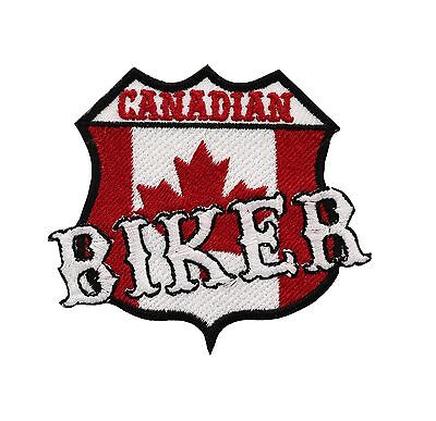 "CANADIAN Canada CanUk 10/"" x 2/"" White /& Black Back Rocker Biker Patch CUS-0009"