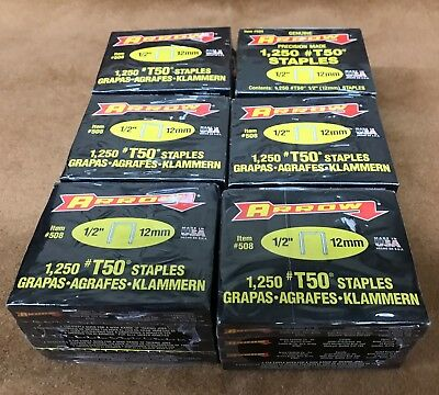 """NOS NEW Arrow T50, 1/2"""" (12mm) Staples, 24 Boxes of 1250 for T50 Gun"""