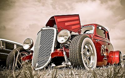 "Old Classic Hot Rod Mini Poster 24"" x 16"""