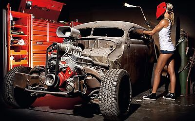 "Classic Hot Rod Engine Blower performance Mini Poster 24"" x 16"""