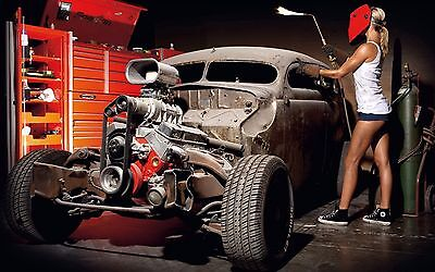 "Classic Hot Rod Engine Blower performance Mini Poster 24"" x 36"""