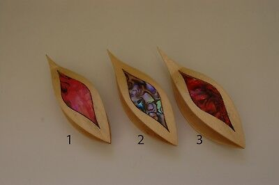 Wooden Tatting Shuttle Hand Made in Maple With Pick & MOP Inlay