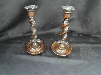 A Pair Of Vintage Oak Barley Twist Candlestics - Brass Sconces