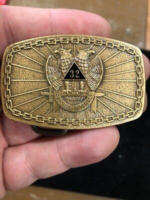 1981 SMALL **MASON OF THE 32nd DEGREE** SOLID BRONZE BUCKLE