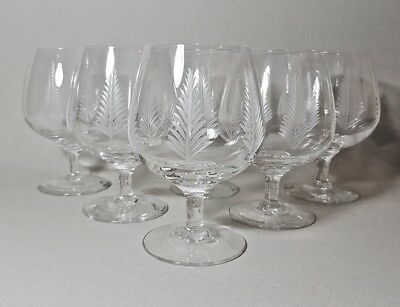 Stuart Woodchester Crystal - 6 Brandy Balloons Snifters Cognac Glasses