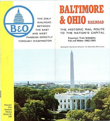 Baltimore & Ohio Railroad system passenger time table, Fall-Winter, 1962-1963