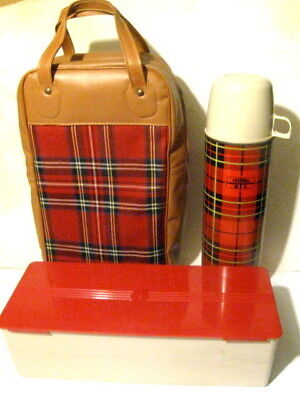 Vintage Red Plaid Thermos Lunch Set Carry Case Sandwich Box Thermos 2442 1973
