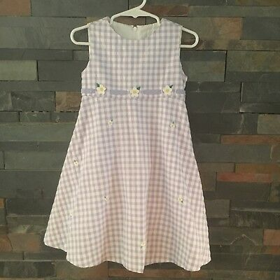 85481c9906 Florence Eiseman 3 Girls Purple And White Gingham Dress Checked Flowers  Daisies