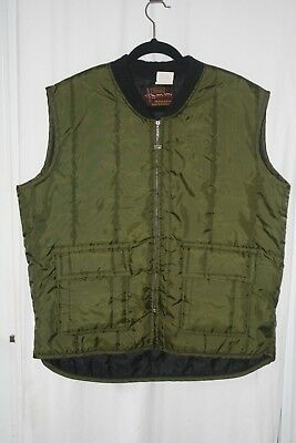 "Vintage '60s WALLS' ""Blizzard-Pruf Green Insulated Outerwear Vest XL Quilted EUC"