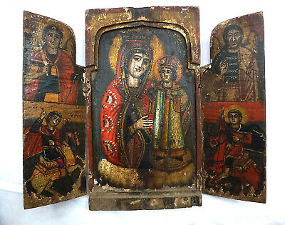 Antique Greek Orthodox Triptych Wooden Icon for the Home - 18 - 19 century