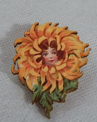 Pin Flower Girl Brooch Fairy Wood Vintage Style Fashion NEW Fairytale Lapel