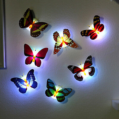 Colorful Changing Butterfly LED Night Light Lamp Room Party Desk Wall Decor WL