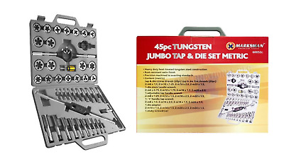 Heavy Duty 45PC TUNGSTEN STEEL JUMBO TAP AND DIE SET METRIC PRO NEW PROFFESSIONA