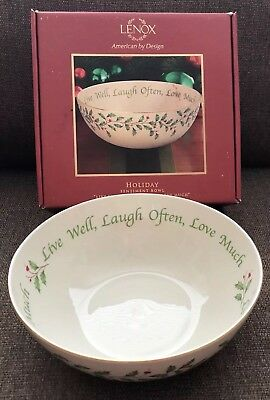"""Lenox China Holly Berries Holiday Sentiment Bowl 9"""" NEW IN BOX Live Well Laugh"""