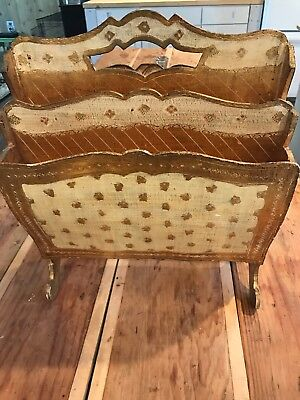 Vintage Italy Florentine Toleware Gold Gilt Wood Magazine Rack 4 Slot Footed