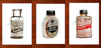 3 Vintage Heroin Bottle  Prints 1800s Antique Medical  Oxycodon Ships from USA