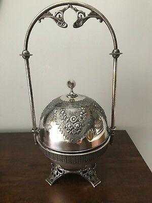 Antique Meriden B Company Silverplate Butter Dish Nice Floral Design