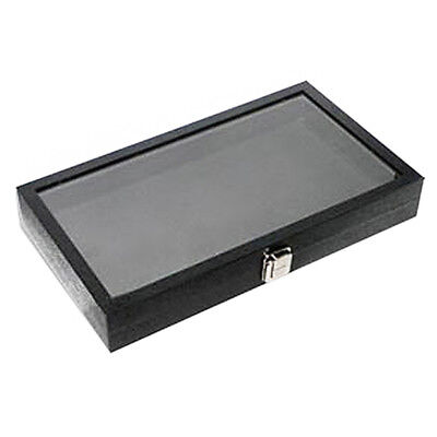 New Black Faux Leather Glass Top Display Case For Jewelry Showcases & Countertop