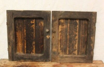 "Pair Of Salvaged Primitive Antique Oak Cupboard Doors 20"" Tall X 16 1/2"" Wide"
