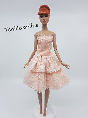 New Barbie clothes outfit princess wedding ball gown dress pink lace shoes