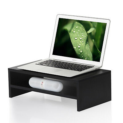 FITUEYES Wood Computer Monitor Riser Laptop TV Stand with 2 tiers Storage Shelf