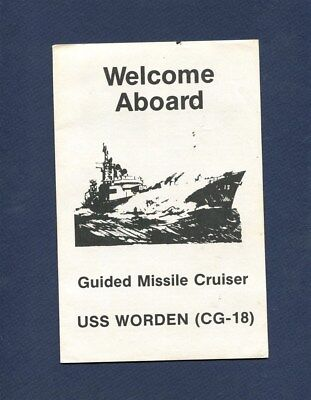 CG 18 USS WORDEN WELCOME ABOARD PAMPHLET US Navy Cruiser Ship Squadron Booklet