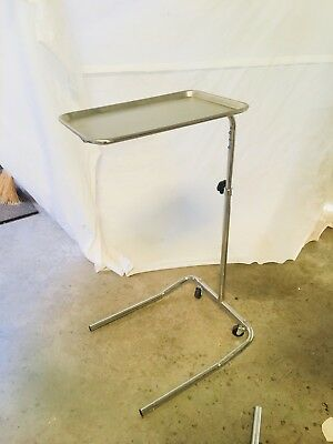 Stainless Steel Adjustable Rolling Surgical Mayo Stand w/Tray
