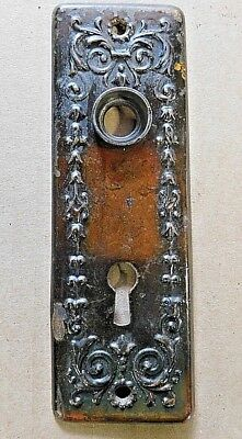 1800s Antique DOOR Knob Plate VICTORIAN Style Original Solid Brass Finish ORNATE