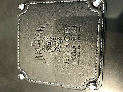 """""""jim Beam - Black Extra Aged"""" Leather Look Coasters X 4 In Holder **new In Box**"""