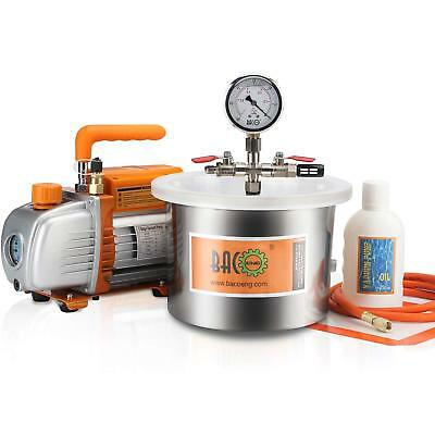 BACOENG 5.7L Stainless Steel Vacuum Chamber & 3CFM 1/4HP Vacuum Pump for Casting