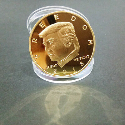 2018 US President Donald Trump Commemorative Coin Double Gun Gold Plated