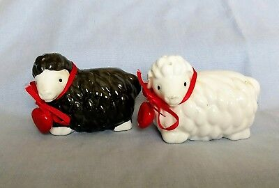 Black & White Sheep Salt And Pepper Shakers With Love Hearts Tinkle Sprinkle