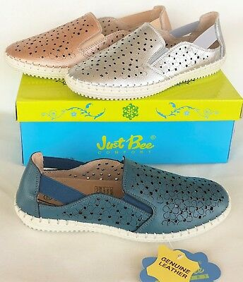 Leather slip on comfort flats Just Bee Shoes Catah
