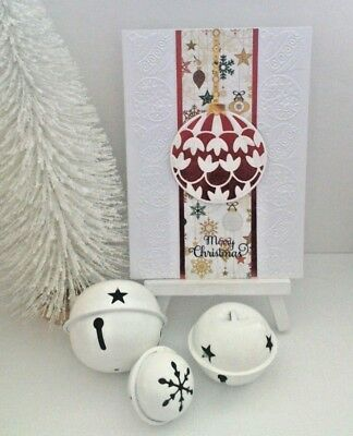 Handmade Christmas Card:Round Bauble  (Red & White)