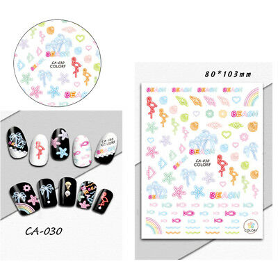 1PC Lovely Art Decals Nail Wraps Stickers Self-Adhesive Polish Foils Decorations