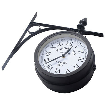 Garden Paddington Station Wall Clock 20CM Double Sided Outside Bracket Outdoor