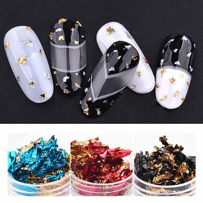 Nail Art Glitter Aluminum Foil 3D Flake Sticker Manicure UV Gel Polish Paillette