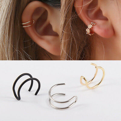 1X Cross U Leaf Ear Clip Cuff Wrap Fake Earring Stud Hoop Non Piercing Cartilage