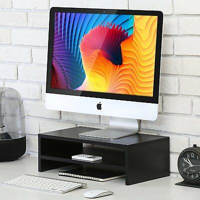FITUEYES Computer Monitor Stand TV Shelf Riser 2-Tier Organizer Stand,Save Space