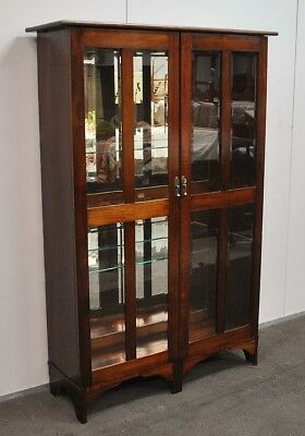 Lovely Antique Blackwood Display Cabinet * Bookcase  c1920s