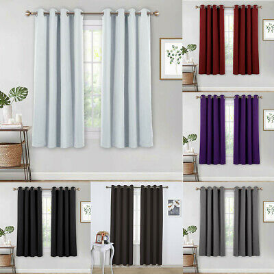 Luxury Thermal Blackout 40-70% Curtains Made Eyelet Ring Top 2 Panels 8 Color