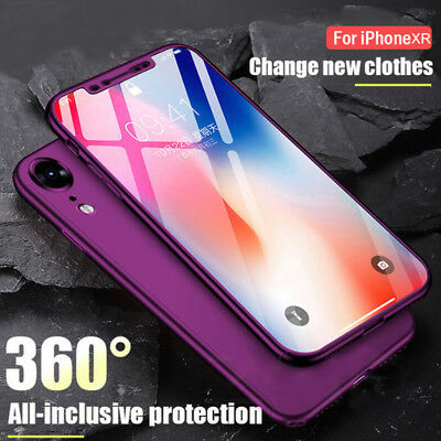 Hybrid 360° Shockproof Hard Case Cover +Tempered Glass Film for iPhone Xs Max Xr