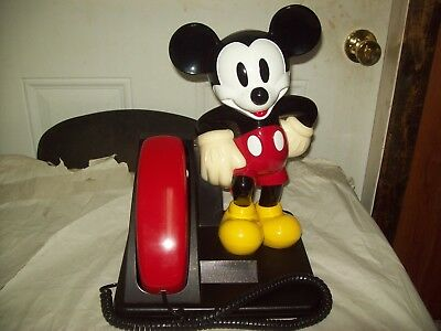Disney Mickey Mouse Phone AT&T 1990's Red Black Push ButtonTelephone