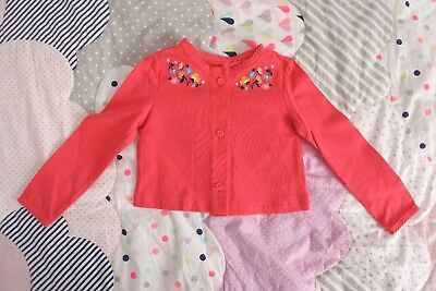 * CARTER'S * Sz 0-1 6-18 months coral embroidered cardigan! NWoT
