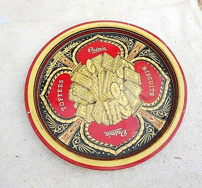 1950s VINTAGE DALMIA BISCUITS/TOFFEES ADV. TIN TRAY/PLATE