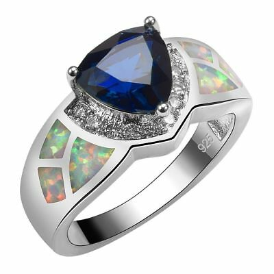 Handcrafted Rare Antique Design Blue Sapphire White Fire Opal Ring Size 10 Gift
